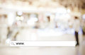 Word www. written on search bar over blur store background Royalty Free Stock Photo