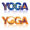 Word yoga met de pictogrammen van yogaposities Stock Afbeeldingen