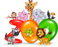 Word zoo with cartoon wild animal africa