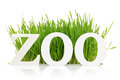 Word zoo with fresh grass isolated on white Royalty Free Stock Images