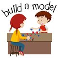 Wordcard for build a model with two kids playing