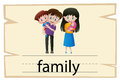 Wordcard design for word family Royalty Free Stock Photo