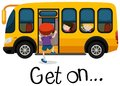 Wordcard for get on with boy getting on schoolbus Royalty Free Stock Photo