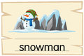 Wordcard template for word snowman