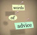Words of advice bulletin board consulting guidance tips suggesti pinned to a to illustrate or suggestions to help and aid you in Stock Image