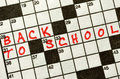The Words BACK TO SCHOOL on Crossword Puzzle Royalty Free Stock Photo