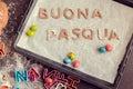 Words Buona Pasqua as Happy Easter in italian language