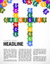 Words CHEMISTRY, SCIENCE, RESEARCH formed by symbols of the Periodic Table of the Elements in the form of puzzle pieces