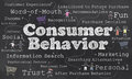 Words of consumer behavior with chalk on blackboard Royalty Free Stock Images
