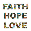 Words faith, hope, love zentangle stylized on white background, Royalty Free Stock Photo