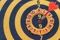 Words goals setting and dart target on bullseye Royalty Free Stock Photo