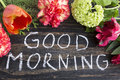 Words Good Morning with Flowers Royalty Free Stock Photo