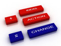 Words ideas action and change Stock Images