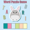 Words puzzle children educational game with colorful code. Place the letters in right order. Learning vocabulary. Match letters wi
