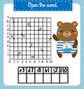 Words puzzle children educational game with coordinate grid. Place the letters in right order. Learning vocabulary