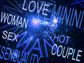 Words related with sexuality blue fractal background Stock Photo