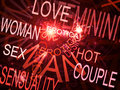 Words related with sexuality red fractal background Stock Image