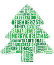 Words related to christmas and celebration conceptual tag cloud of in the shape of a tree Stock Image