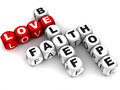 Words related to love faith like belief hope crossword words love red white background Stock Images