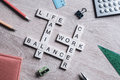 Words work life balance and family on table collected with woode