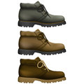 Work boots layered vector illustration of with different color Stock Image