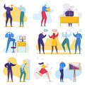 Work and business problems, conflict in office, business people in stress, solving problem vector illustration set.