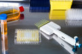 Work with cell cultures in genetic lab workbench Royalty Free Stock Photo