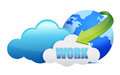Work cloud computing concept illustration design over a white background Stock Images