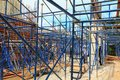 Work construction and scaffold in site workplace building Royalty Free Stock Photo