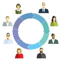 Work flow diagram depicting a between a diversity of workers in a circle Royalty Free Stock Images