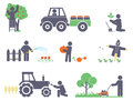 Work in the garden vector set for you design Royalty Free Stock Photos