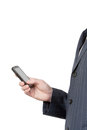 Work on the go business man use smart phone isolated in white Royalty Free Stock Photo