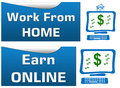 Work from home earn online set of banners Stock Image