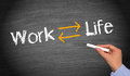 Work life balance text and in white with yellow arrows pointing to left and right on a chalkboard concept of Royalty Free Stock Photos