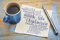 Work life balance word cloud handwriting on a napkin with a cup of coffee Royalty Free Stock Image