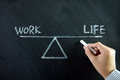 Work life balance and written on chalkboard Stock Photos