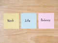 Work life word balance on colorful note paper with wood background Stock Photo