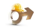 Work for men symbol man construction helmet on a white background Stock Photography