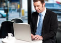 Work on the move businessman working business professional his laptop Royalty Free Stock Photos