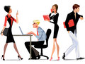 Work in the office, business environment, business staff characters