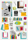 Work office web layout. Colorful flat graphic template. Royalty Free Stock Photo