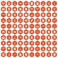 100 work paper icons hexagon orange