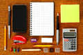 Work place with office stationery Royalty Free Stock Photo