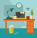 Work place of web designer on holiday vector illustration office room interior Royalty Free Stock Photo