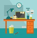 Work place of web designer on holiday vector illustration office room interior Royalty Free Stock Image
