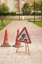 Work in progress road sign illustration from spain Royalty Free Stock Image