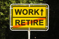 Work and retire blue sky behind a yellow city limit or place name sign informing with an arrow that you are on the way to leaving Stock Images