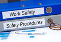 Work Safety and Safety Procedures Binders Royalty Free Stock Photo