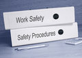 Work Safety and Safety Procedures binders in the office Royalty Free Stock Photo