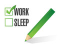 Work sleep check mark illustration design over white Stock Photography